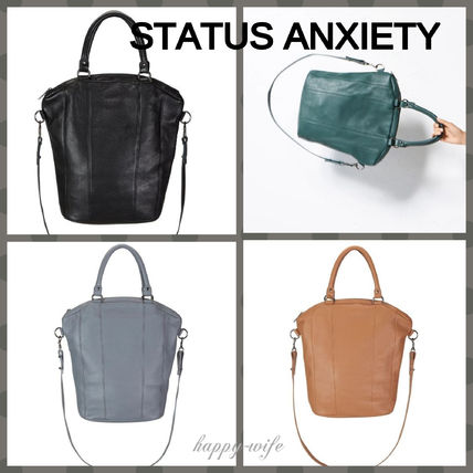 Casual Style Unisex A4 2WAY Plain Leather Office Style
