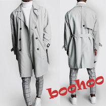 boohoo Other Check Patterns Street Style Plain Trench Coats