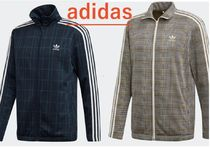 adidas Tartan Other Plaid Patterns Street Style Logo Track Jackets
