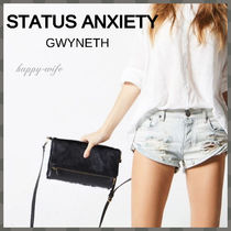 STATUS ANXIETY Casual Style Spawn Skin Blended Fabrics 3WAY Plain Leather