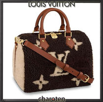 Louis Vuitton SPEEDY Monogram Unisex Saffiano Fur Blended Fabrics 3WAY Bi-color