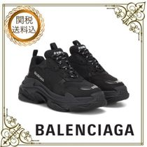BALENCIAGA Triple S Rubber Sole Casual Style Unisex Blended Fabrics Leather