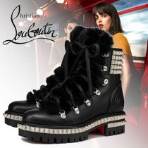 Christian Louboutin Plain Toe Lace-up Studded Plain Block Heels Lace-up Boots