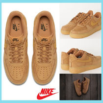 Nike AIR FORCE 1 Unisex Street Style Plain Leather Oversized Sneakers