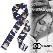 CHANEL Silk Blended Fabrics Street Style Party Style Elegant Style