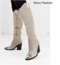 Steve Madden Casual Style Block Heels Python Over-the-Knee Boots