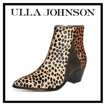 ULLA JOHNSON Leopard Patterns Casual Style Suede Ankle & Booties Boots