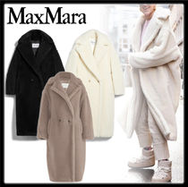 MaxMara TEDDY BEAR Casual Style Plain Long Oversized Elegant Style Peacoats