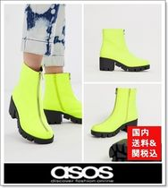 ASOS Round Toe Casual Style Chunky Heels Ankle & Booties Boots