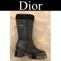 Christian Dior Wedge Plain Toe Casual Style Blended Fabrics Street Style