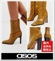 ASOS Square Toe Casual Style Blended Fabrics Leather Python