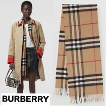 Burberry Other Check Patterns Unisex Cashmere Heavy Scarves & Shawls