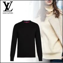 Louis Vuitton Crew Neck Street Style Bi-color Long Sleeves