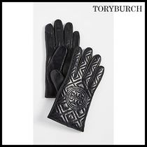 Tory Burch Street Style Plain Leather Leather & Faux Leather Gloves