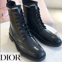 Christian Dior Tartan Casual Style Leather Ankle & Booties Boots