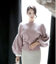 DINT Casual Style Wool Puffed Sleeves Halter Neck Long Sleeves