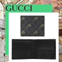 GUCCI Canvas Blended Fabrics Other Animal Patterns Folding Wallets
