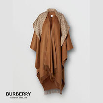 Burberry Monogram Cashmere Long Fringes Oversized Ponchos & Capes