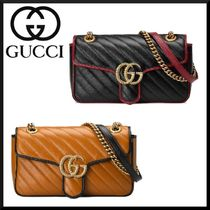 GUCCI GG Marmont 2WAY Chain Plain Leather Elegant Style Shoulder Bags