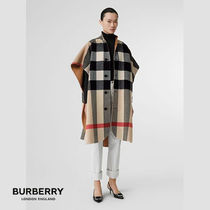 Burberry Other Check Patterns Unisex Wool Nylon Plain Long Oversized