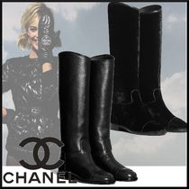 CHANEL Plain Toe Velvet Plain Leather Block Heels Elegant Style