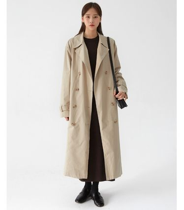 Stand Collar Coats Casual Style Street Style Plain Long Midi