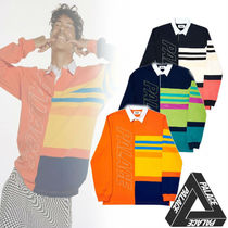 Palace Skateboards Stripes Street Style Long Sleeves Cotton Polos