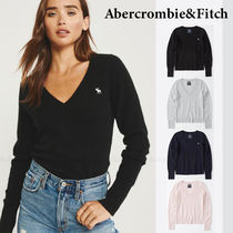 Abercrombie & Fitch Casual Style Cashmere V-Neck Long Sleeves Plain Medium