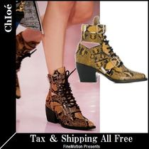 Chloe Python Elegant Style Ankle & Booties Boots
