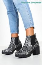 boohoo Casual Style Faux Fur Street Style Chelsea Boots Python