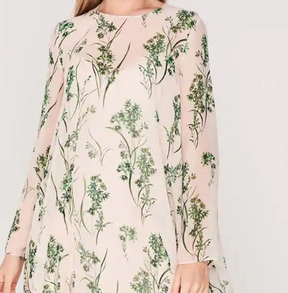 Crew Neck Wrap Dresses Flower Patterns Casual Style Silk
