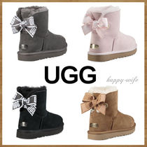 UGG Australia MINI BAILEY BOW Casual Style Sheepskin Suede Fur Plain Ankle & Booties Boots