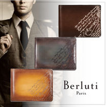 Berluti Street Style Plain Leather Folding Wallets