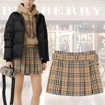 Burberry Short Tartan Casual Style Wool Pleated Skirts Skirts