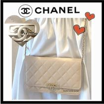 CHANEL CHAIN WALLET Casual Style 3WAY Plain Leather Shoulder Bags