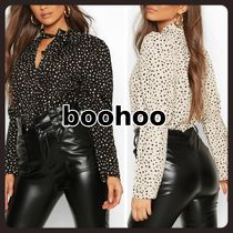 boohoo Dots Casual Style Puffed Sleeves Long Sleeves Party Style