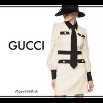 GUCCI Short A-line Wool Bi-color Long Sleeves Plain Elegant Style
