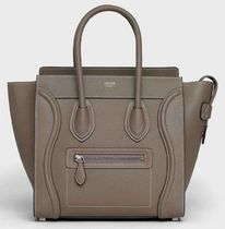 CELINE Luggage Plain Leather Crossbody Handbags