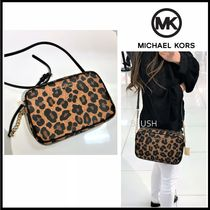 Michael Kors Monogram Leopard Patterns Casual Style Saffiano