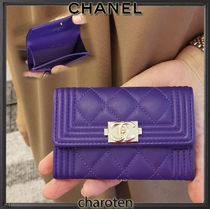 CHANEL BOY CHANEL Unisex Lambskin Plain Leather Card Holders