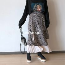 Flared Skirts Leopard Patterns Pleated Skirts Plain Long