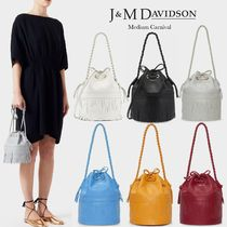 J & M Davidson Carnival Casual Style Calfskin Blended Fabrics 2WAY Plain Leather