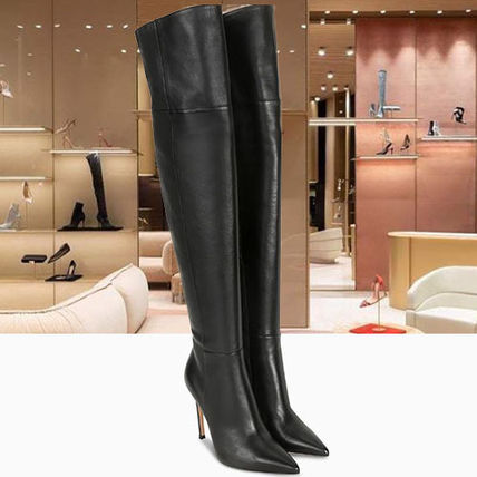 Plain Leather Pin Heels Elegant Style Over-the-Knee Boots