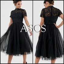 ASOS Flared Medium Short Sleeves Party Style High-Neck Lace