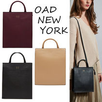 OAD NEW YORK Casual Style 3WAY Plain Leather Backpacks