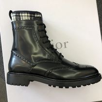 Christian Dior Tartan Lace-up Plain Leather Lace-up Boots