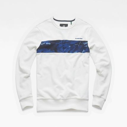 Crew Neck Pullovers Camouflage Sweat Street Style