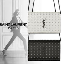 Saint Laurent Dots Monogram Casual Style Calfskin Leather Party Style