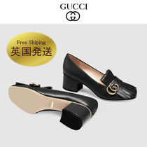 GUCCI GG Marmont Square Toe Plain Leather Block Heels Fringes Elegant Style