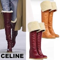 CELINE Wedge Fur Plain Leather Wedge Boots